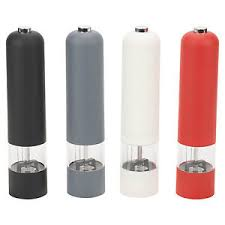 electric salt pepper mill grinder with light battery operated electric soft touch plastic salt and pepper mill