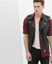 motorcycle waistcoat zara man bnwt black faux leather biker waistcoat gilet 0706 419