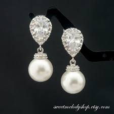 pearl dangle earrings wedding jewelry bridesmaid gift bridal jewelry pearl earrings