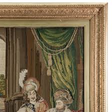 antique victorian era fine needlepoint tapestry in elegant frame