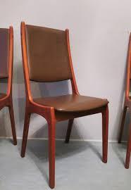Esszimmerst Le Design Leder Dänische Stühle Aus Leder Und Teak Von Kai Kristiansen Für Korup