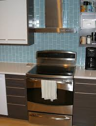 nice glass subway tile for backsplash with cool white kitchen