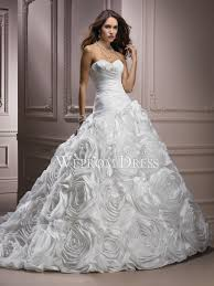 Princess Wedding Dresses Inverted Triangle Apple Rosette Ruffles Sweep Train Sleeveless