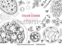 engraved dishes italian cuisine top view frame set stock vector 496959409