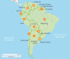 Map Of South America With Capitals South America Map Countries And Capitals For Within With Game In