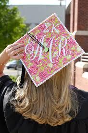 monogram graduation cap emily ruth decorated graduation cap