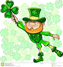 vector st patrick u0027s day leprechaun with clover royalty free stock