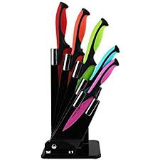 kitchen knife block set with colour coding 5 piece coloured
