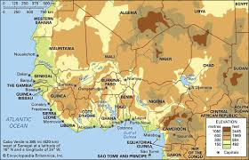 algeria physical map west africa physical map africa map