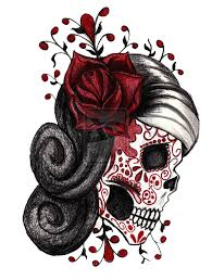 mexican sugar skull with flowers tattoo design photos pictures