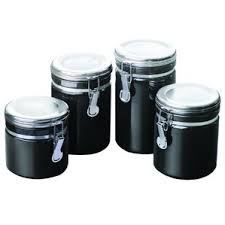 kitchen canisters set of 4 black kitchen canisters jars you ll wayfair