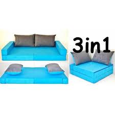 canapé pour enfant 3 en 1 bleu coussins gris bleu achat vente