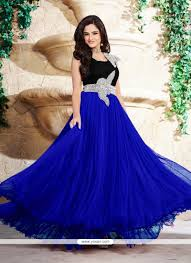 gown designs shop online work satin blue designer gown