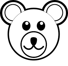 palomaironique bear head brown black white line art coloring book