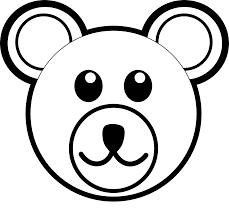 palomaironique bear head brown black white line art coloring book