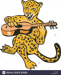 jaguar clipart illustration of a cartoon jaguar lion playing guitar isolated on