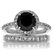 black engagement ring set carrie s black cz ring set