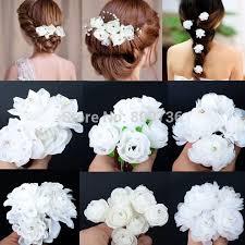 beautiful hair pins 5pcs wedding bridal hairpin white flower rhinestone
