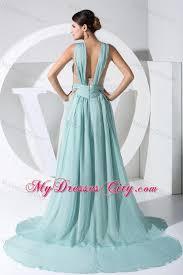 ruching straps watteau train light blue 2013 evening dress