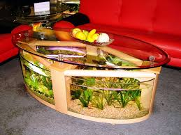 model meja ruang tamu aquarium unik desain minimalis pinterest