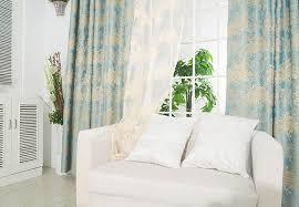 Window Length Curtains Floral Jacquard Blue Fiber Bedroom Window Length Curtains