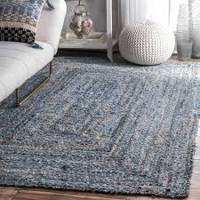 7 jute rug nuloom handmade braided blue fiber jute and denim rug 7 6