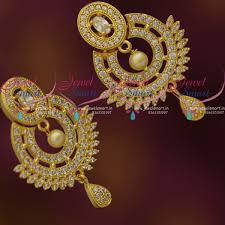 design of earrings er7835 white colour stones cz traditional design imitation