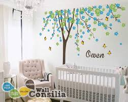 Cherry Blossom Tree Wall Decal For Nursery Tree With Blossoms And Butterflies Wall Stickers For