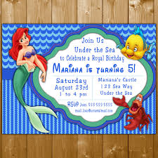 little mermaid invitation disney princess ariel party invitations