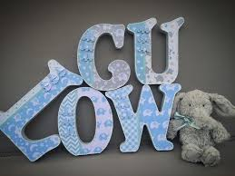 baby blue white grey elephants free standing wooden letters