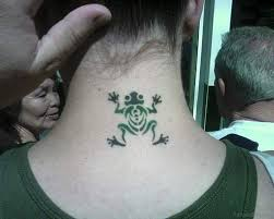 12 frog tattoos on neck
