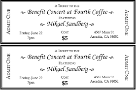 concert ticket template word