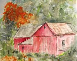 painting barn watercolor watercolor barn landscape painting autumn