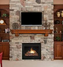 fireplace designs with rustic brick mantle under wall mount tv