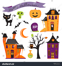halloween clipart cute collection cute colorful halloween elements collection vector stock vector