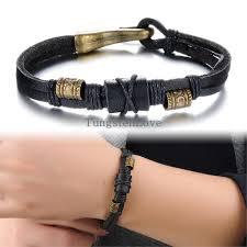 man black leather bracelet images 22cm new punk men 39 s bracelets bangles alloy bronze charm man jpg