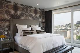 decorative pillows bed wallpaper behind bed bedroom contemporary with white bedding