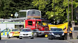 breaking emergency services dealing with traffic incident in