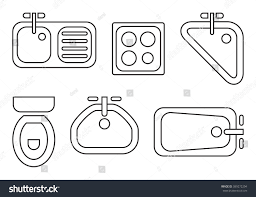 standard bathroom kitchen symbols used architecture stock vector