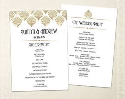 deco wedding program program etsy