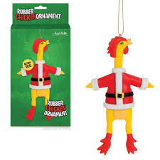 rubber chicken ornament archie mcphee co