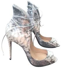 christian louboutin silver megavamp python white lace up wing back