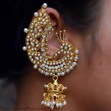 gold ear cuffs traditional peacock theme ear cuffs white colour hayagi