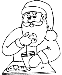 santa eating chocolate chip cookie coloring cookie