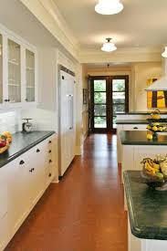 modern kitchen using cork flooring and modern cabinets cork