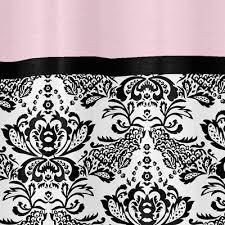 Black And White Damask Curtain Pink Black U0026 White Damask Fabric Bath Shower Curtain Elegant Designer
