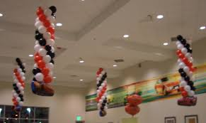 decorations celebrate the day with balloons