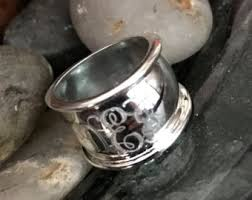 monogrammed silver ring sterling silver etsy