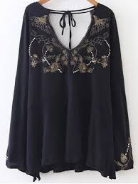white flowy blouse embroidered beading flowy blouse black blouses s zaful