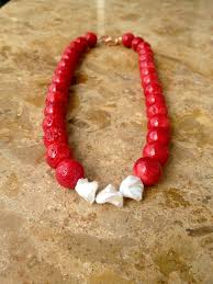 beaded coral necklace images Red coral pearl statement necklace pillow book design jpg